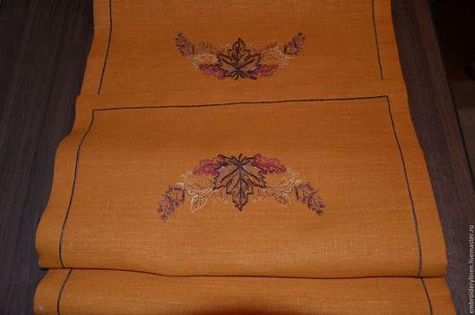 """Текстиль, ковры ручной работы. Ярмарка Мастеров - ручная работа. Купить Дорожка льняная """" Листопад"""". Handmade. Оранжевый"""