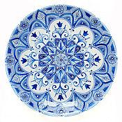 """Посуда ручной работы. Ярмарка Мастеров - ручная работа Синий тюльпан. Тарелка из коллекции """"Монохромный калейдоскоп"""". Handmade."""