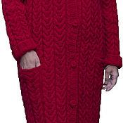 """Одежда ручной работы. Ярмарка Мастеров - ручная работа Вязаное п/шерстяное пальто """"Красный цветок"""". Handmade."""