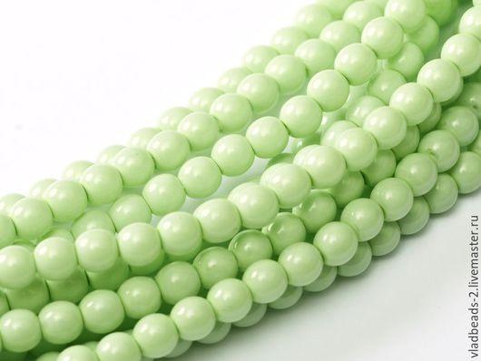 Для украшений ручной работы. Ярмарка Мастеров - ручная работа. Купить Бусины 4мм чешские стеклянные Light Green. Handmade.