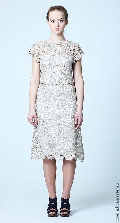 Платье бежевое кружевное вечернее летнее нарядное, на выпускной, с коротким рукавом на выход коктельное женственное шикарное, эксклюзивное, платье ручной работы длиной миди