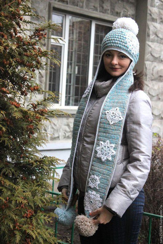 """Шапки ручной работы. Ярмарка Мастеров - ручная работа. Купить Шапка-ушанка """"Снегопад"""". Handmade. Голубой, шарф, бисер"""