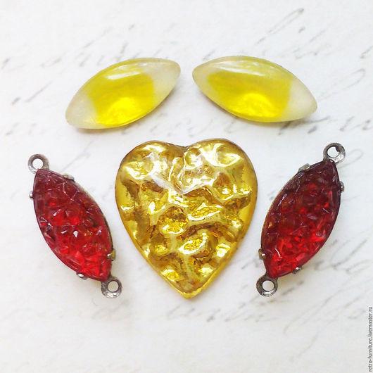"""Для украшений ручной работы. Ярмарка Мастеров - ручная работа. Купить Винтажный набор:стразы, кристаллы, подвески """"Gold+red"""". Handmade."""