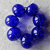 Материалы для творчества ручной работы. Ярмарка Мастеров - ручная работа Комплект 7 полых бусин темно-синие. Handmade.