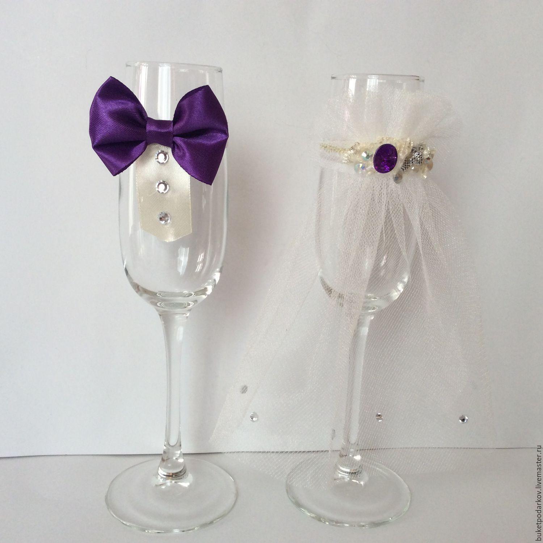Бокалы свадебные в фиолетовом цвете