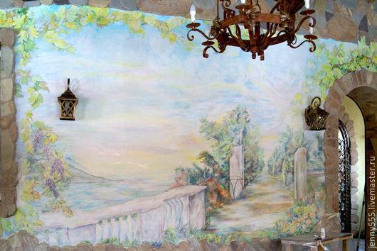 Декор поверхностей ручной работы. Ярмарка Мастеров - ручная работа. Купить Морской пейзаж-фреска в зале.. Handmade. Разноцветный