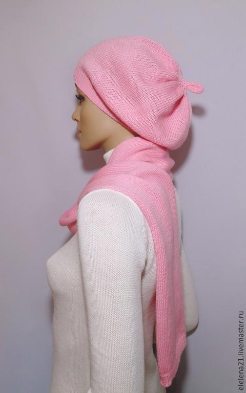 Береты ручной работы. Ярмарка Мастеров - ручная работа. Купить Берет розовый с шарфиком. Handmade. Розовый, берет вязаный