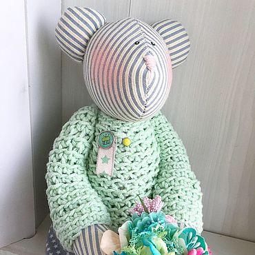 Куклы и игрушки ручной работы. Ярмарка Мастеров - ручная работа Тильда Мишка с букетом цветов. Handmade.