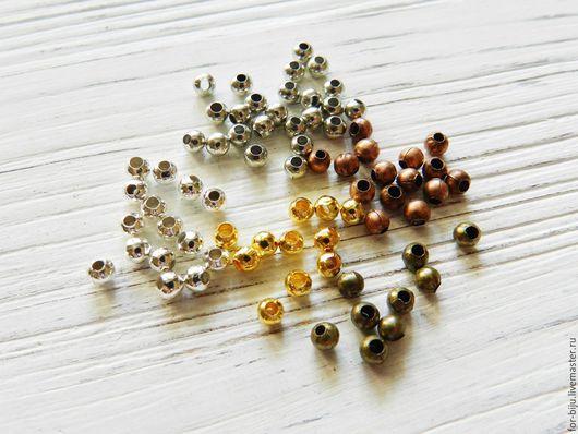 Металлические разделители бусин (спейсеры) металлические, цвет бусин античная бронза, серебро, платина, золото, медь. Размер бусин 3,2*3 мм, отверстие 1,2 мм, материал - сплав металлов на основе желез
