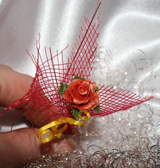Броши ручной работы. Ярмарка Мастеров - ручная работа. Купить Брошь Роза из холодного фарфора. Handmade. Ярко-красный, роза