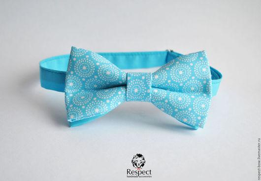Галстуки, бабочки ручной работы. Ярмарка Мастеров - ручная работа. Купить Голубая бабочка галстук Ретро-круги / галстук-бабочка, подарок. Handmade.