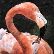 Картины ручной работы. Ярмарка Мастеров - ручная работа Картины: Фламинго - картина шерстью. Handmade.