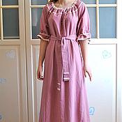 Одежда handmade. Livemaster - original item Boho dress with lace linen long Delicate Lilac. Handmade.