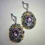 Украшения handmade. Livemaster - original item Large earrings with amethyst. Handmade.