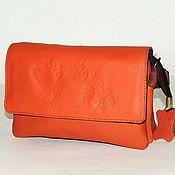 Сумки и аксессуары handmade. Livemaster - original item Orange leather handbag