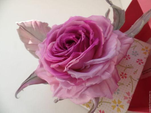 """Броши ручной работы. Ярмарка Мастеров - ручная работа. Купить Шелковая роза"""" Виолетта"""". Handmade. Фиолетовый, украшения ручной работы"""