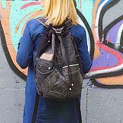 Сумки и аксессуары handmade. Livemaster - original item Denim Pocket Black backpack. Handmade.