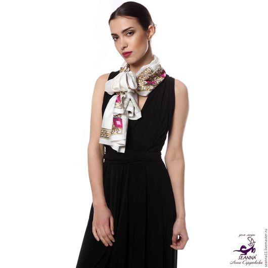 Дизайнер Анна Сердюкова (Дом Моды SEANNA). Роскошный шелковый шарф с авторским принтом `Аметистовые рамки`. Размер шарфа - 45х140 см.  Цена - 3500 руб.
