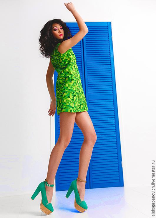 Платья ручной работы. Ярмарка Мастеров - ручная работа. Купить Огуречное платье.. Handmade. Разноцветный, летнее платье, платье на заказ