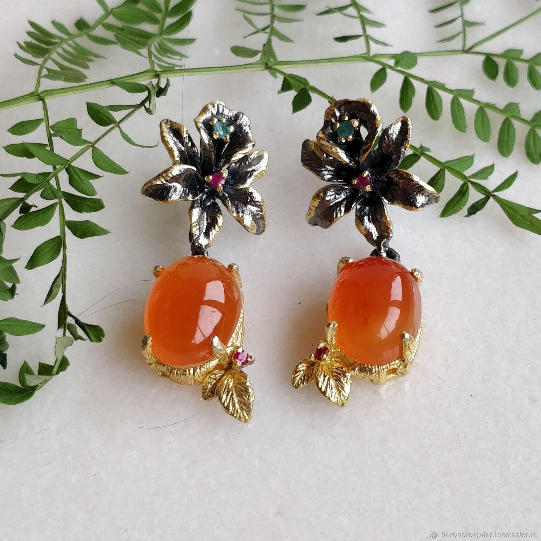 Silver earrings with carnelian, Earrings, Novosibirsk,  Фото №1