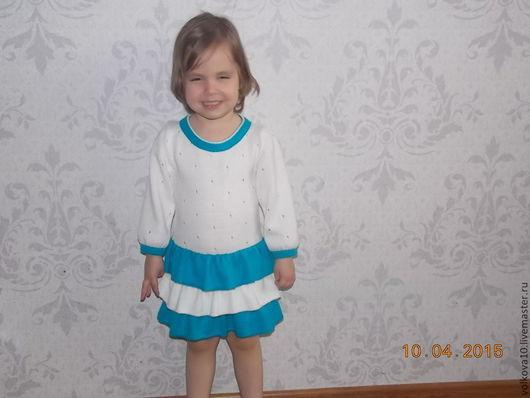 Одежда для девочек, ручной работы. Ярмарка Мастеров - ручная работа. Купить вязаное платье с воланами. Handmade. Вязаное платье
