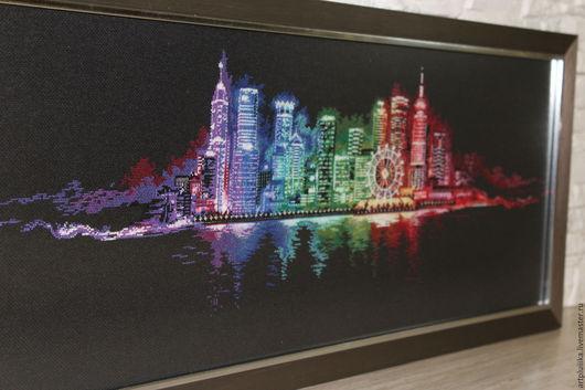 """Город ручной работы. Ярмарка Мастеров - ручная работа. Купить """"Ночной город"""" картина вышитая крестом. Handmade. Комбинированный"""