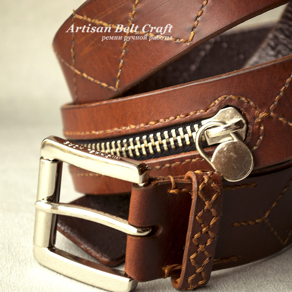 Кожаный ремень ручной работы с декоративным элементом - молния by Artisan Belt Craft