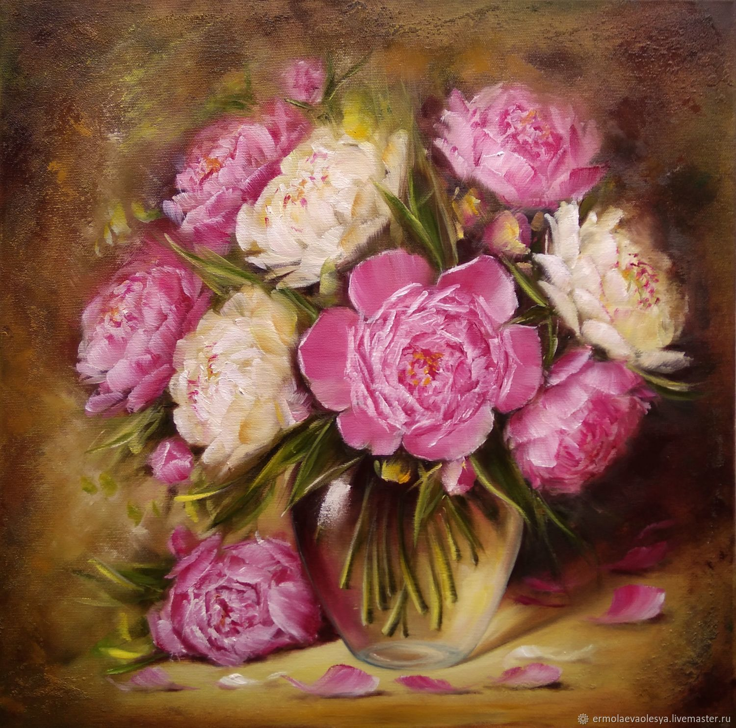 Oil painting peonies in a vase shop online on livemaster with flower painting handmade livemaster handmade buy oil painting peonies in a vase reviewsmspy