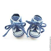 Работы для детей, ручной работы. Ярмарка Мастеров - ручная работа пинетки кеды, кеды вязаные, синий, джинсовый. Handmade.