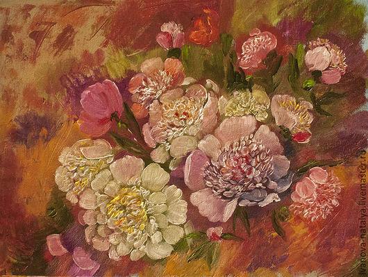 Картины цветов ручной работы. Ярмарка Мастеров - ручная работа. Купить пионы. Handmade. Розовый, масляная живопись, интерьерная живопись