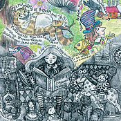 Картины и панно handmade. Livemaster - original item Set of 3 pieces poster Print Alice in Wonderland, the Nutcracker, snow. Handmade.