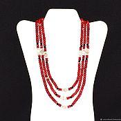 Necklace handmade. Livemaster - original item Multi-row necklace made of natural coral. Handmade.