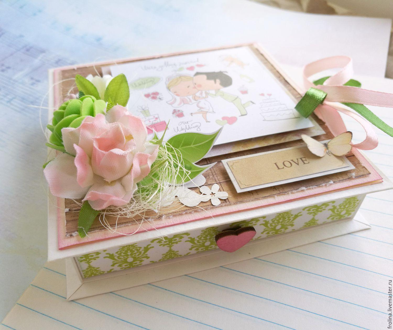 Коробочка открытка на свадьбу скрапбукинг