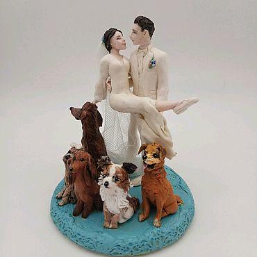 Свадебный салон ручной работы. Ярмарка Мастеров - ручная работа свадебные фигурки Жених, невеста  и пять любимых собак. Handmade.