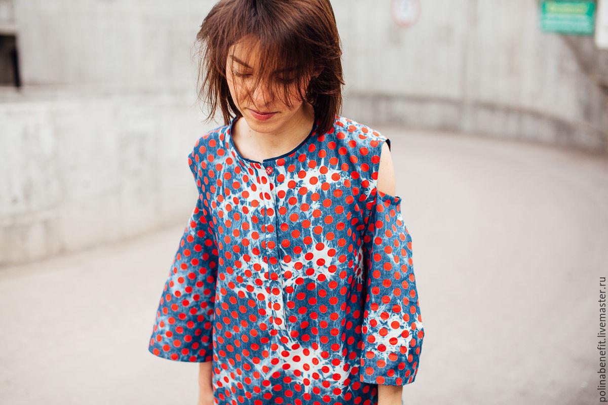 f3d6c502ace Платья ручной работы. Джинсовое платье в горох с открытыми предплечьями. Polina  Benefit.