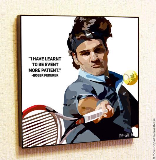 Люди, ручной работы. Ярмарка Мастеров - ручная работа. Купить Картина Поп Арт Роджер Федерер. Handmade. Поп Арт
