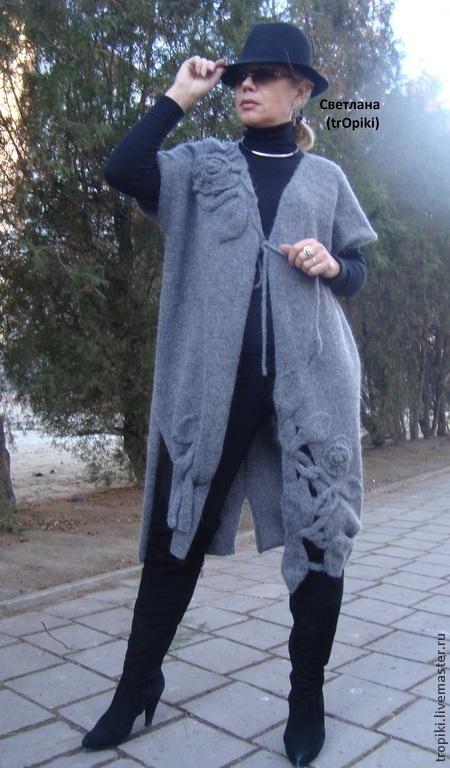 """Кофты и свитера ручной работы. Ярмарка Мастеров - ручная работа. Купить Пальто- кардиган  вязаное """" Графит"""". Handmade. Серый"""
