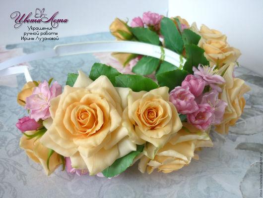 Ободок с цветами из полимерной глины. Розы из полимерной глины (холодного фарфора), сакура из поимерной глины (холодного фарфора). Ободок с розами.