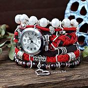 Украшения handmade. Livemaster - original item Wrist watch with garnet and pearls