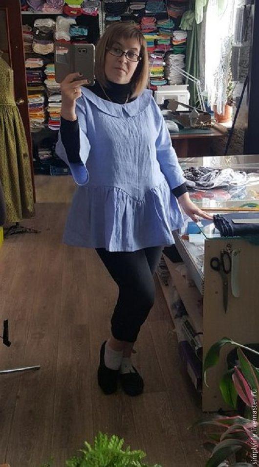 Блузки ручной работы. Ярмарка Мастеров - ручная работа. Купить Лето во Франции. Handmade. Голубой, льняная блуза