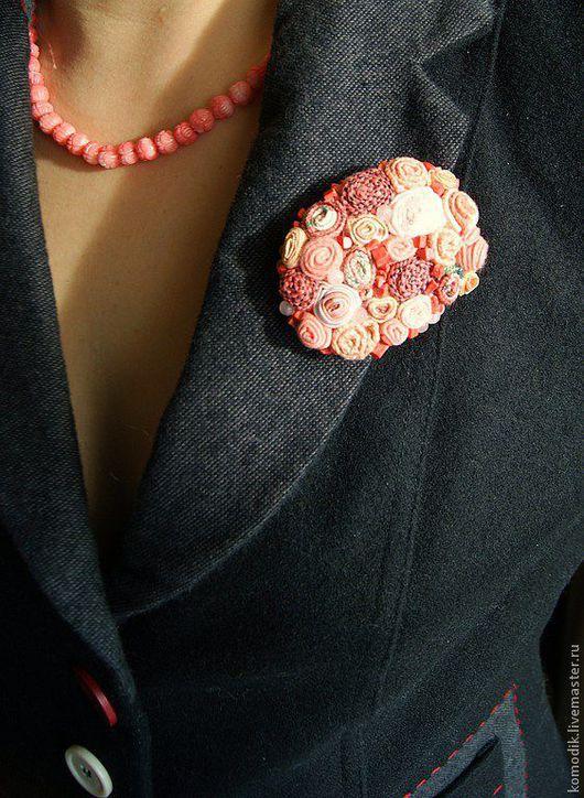 """Броши ручной работы. Ярмарка Мастеров - ручная работа. Купить брошь-кулон """"Коралловая"""" розово-лососевая, с розовым кварцем. Handmade."""