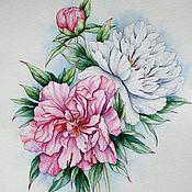 """Картины и панно ручной работы. Ярмарка Мастеров - ручная работа Рисунок """"Бело-розовые пионы"""" акварель. Handmade."""