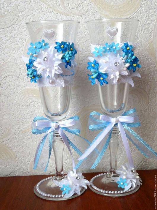 Подарки для влюбленных ручной работы. Ярмарка Мастеров - ручная работа. Купить бокалы на свадьбу. Handmade. Цвета бирюзовый, синий и белый