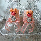 """Свадебный салон ручной работы. Ярмарка Мастеров - ручная работа Свадебные бокалы """"Персиковый аромат"""". Handmade."""