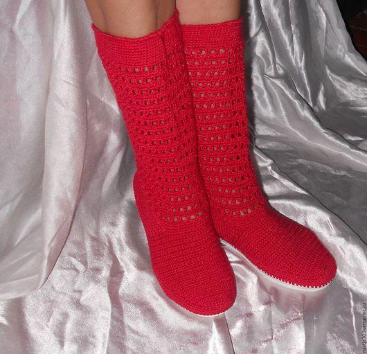 Обувь ручной работы. Ярмарка Мастеров - ручная работа. Купить Сапожки Softness. Handmade. Ярко-красный, сапоги ручной работы