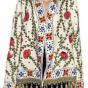 Одежда ручной работы. Ярмарка Мастеров - ручная работа Узбекский вышитый шелком национальный джакет пинджак A10251. Handmade.