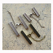 Материалы для творчества ручной работы. Ярмарка Мастеров - ручная работа Зажим-концевик c застежкой карабин и цепочкой для регулировки размера. Handmade.