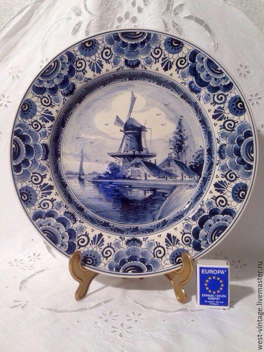 Винтажная посуда. Ярмарка Мастеров - ручная работа. Купить Настенная тарелка d31 см, Delft, Голландия.. Handmade. Синий, кобальт