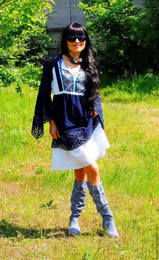 Платья ручной работы. Ярмарка Мастеров - ручная работа. Купить БОХО платье из хлопка (№136). Handmade. Комбинированный, платье с кружевом