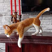 Куклы и игрушки handmade. Livemaster - original item felt toy: Red cat, felted interior toy.. Handmade.